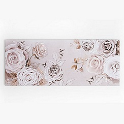 Graham & Brown - Mixed Media Hand Drawn & Photographic Rose Trail Floral Printed Canvas Wall Art