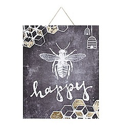 Graham & Brown - Bee Happy Inspirational Quote Chalkboard Printed Canvas Wall Art
