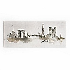 Graham & Brown - Paris Cityscape Watercolour Printed Canvas Wall Art