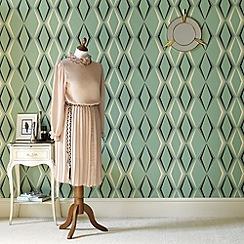 Graham & Brown - Green Deco Diamond Wallpaper