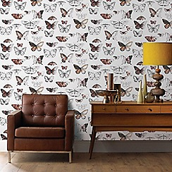 Fresco - Orange and Grey Butterflies Wallpaper