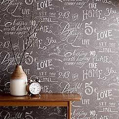Fresco - Grey Chalk Board Handwritten Graphic Wallpaper