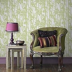Fresco - Green Branches on Fabric design Wallpaper