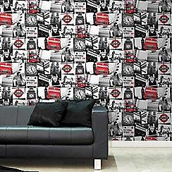 Fresco - Red & Black London Photographic Montage Wallpaper