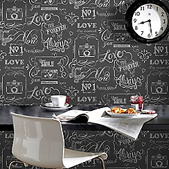 Fresco - Grey Life Rules Inspirational Wallpaper