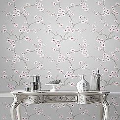 Fresco - Grey Apple Blossom Tree Wallpaper