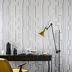 Kelly Hoppen - White & Gold Groove Geometric Wallpaper