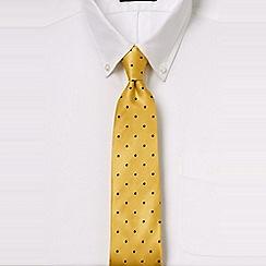 Lands' End - Yellow regular churchill dot hand-sewn silk tie