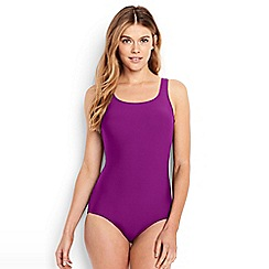 Lands' End - Purple Long Tugless Swimsuit with Soft Cup Bra