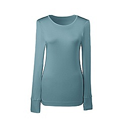 Lands' End - Blue petite lightweight feminine silk thermal crew neck T-shirts