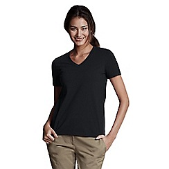 Lands' End - Black petite supima short sleeve v-neck
