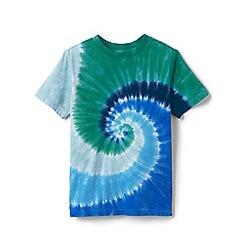 Lands' End - Blue Boys' Short-Sleeve Tie-Dye Pure Cotton T-shirt