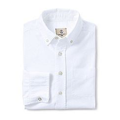 Lands' End - White kids' washed oxford long sleeve shirt