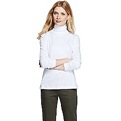 Lands' End - White regular shaped supima long sleeve roll neck