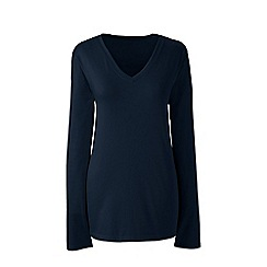 Lands' End - Blue plus supima long sleeved v-neck t-shirt