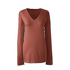 Lands' End - Brown plus supima long sleeved v-neck t-shirts