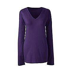 Lands' End - Purple regular supima long sleeved v-neck t-shirt