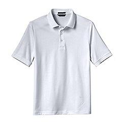 Lands' End - White men's  short sleeve supima banded sleeve polo