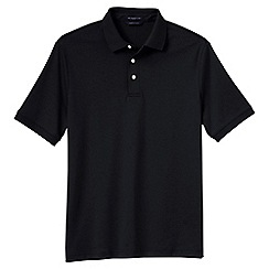 Lands' End - Black men's short sleeved tailored fit supima polo