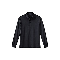 Lands' End - Black men's long sleeve supima polo