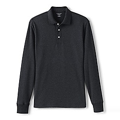 Lands' End - Grey long sleeve tailored fit supima polo