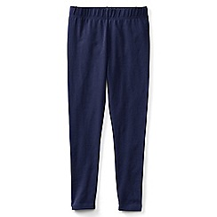 Lands' End - Blue girls' plain ankle length jersey leggings
