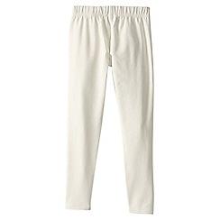 Lands' End - Cream little girls' plain ankle length leggings