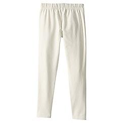 Lands' End - Cream girls' plain ankle length leggings