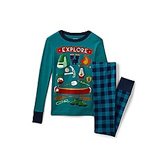Lands' End - Boys' green snug fit cotton pyjamas