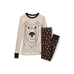 Lands' End - Boys' brown snug fit cotton pyjamas