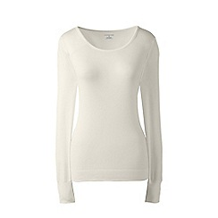 Lands' End - Cream plus thermaskin heat scoop neck top