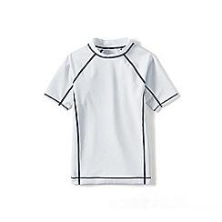 Lands' End - Boys' white short sleeve rash guard top