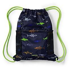 Lands' End - Boys' blue camo print drawstring gym bag