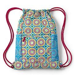 Lands' End - Girls' blue patterned drawstring gym bag