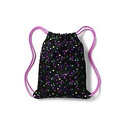 Lands' End - Girls' black patterned drawstring gym bag