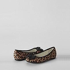 Lands' End - Beige girls' claire calf hair bow ballet shoes