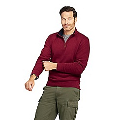 Lands' End - Red brushed rib half zip pullover