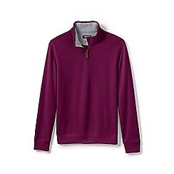 Lands' End - Purple Brushed Rib Half-Zip Pullover