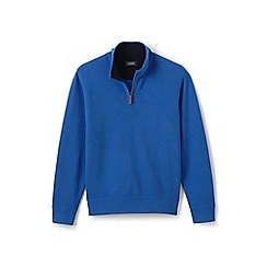 Lands' End - Blue tall brushed rib half-zip pullover