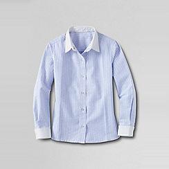Lands' End - Blue little girls' contrast cuff woven shirt