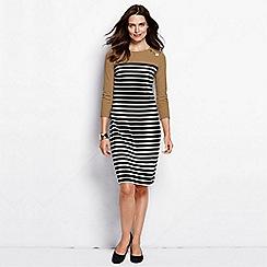 Lands' End - Beige women's regular button shoulder shift dress
