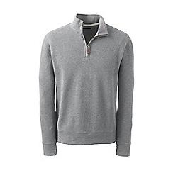 Lands' End - Grey regular heather brushed rib half-zip pullover
