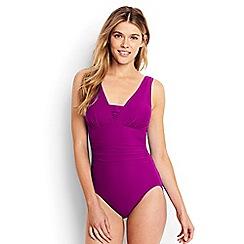 Lands' End - Purple slender v-neck swimsuit
