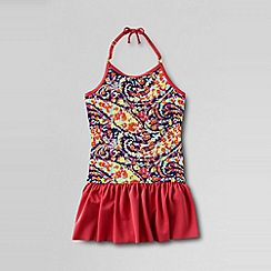 Lands' End - Pink little girls' bohemian beach skirted swimsuit