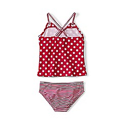 Lands' End - Red girls' anchors away ruffle tankini set