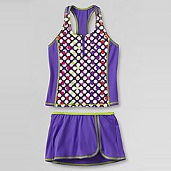 Lands' End - Purple little girls' smart swim racerback tankini swimmini set