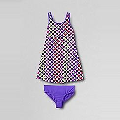 Lands' End - Purple little girls' smart swim printed swim dress