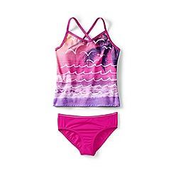 Lands' End - Pink girls' smart swim v-neck graphic tankini set