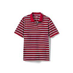 Lands' End - Red short sleeve striped original pique polo shirt