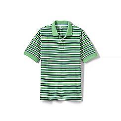 Lands' End - Green short sleeve striped original pique polo shirt